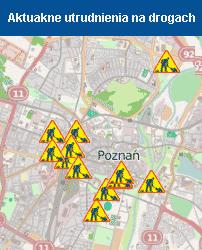 Poznań mapa utrudnień