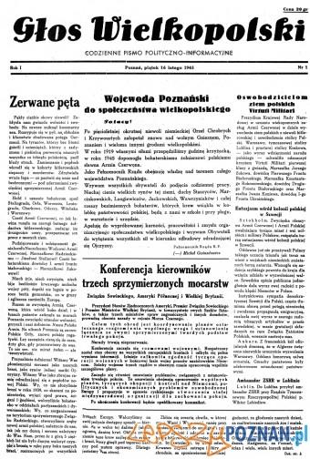 pierwszy numer Głosu Wielkopolskiego