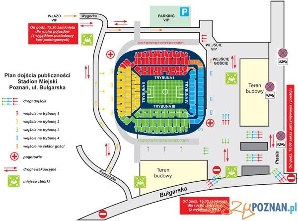 Lech Poznań - Zagłebie Lubin - plan dojścia do stadionu Foto: KKS Lech Poznań