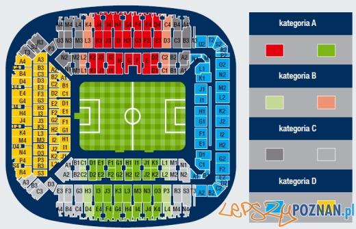 mapa podziału stadionu na sektory w rundzie 2010/2011 Foto: KKS LECH POZNAŃ