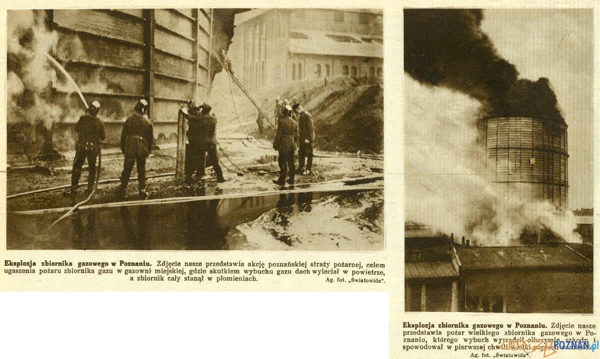 Akcja gaszenia pożaru zbiornika gazu w gazowni miejskiej w 1926 roku