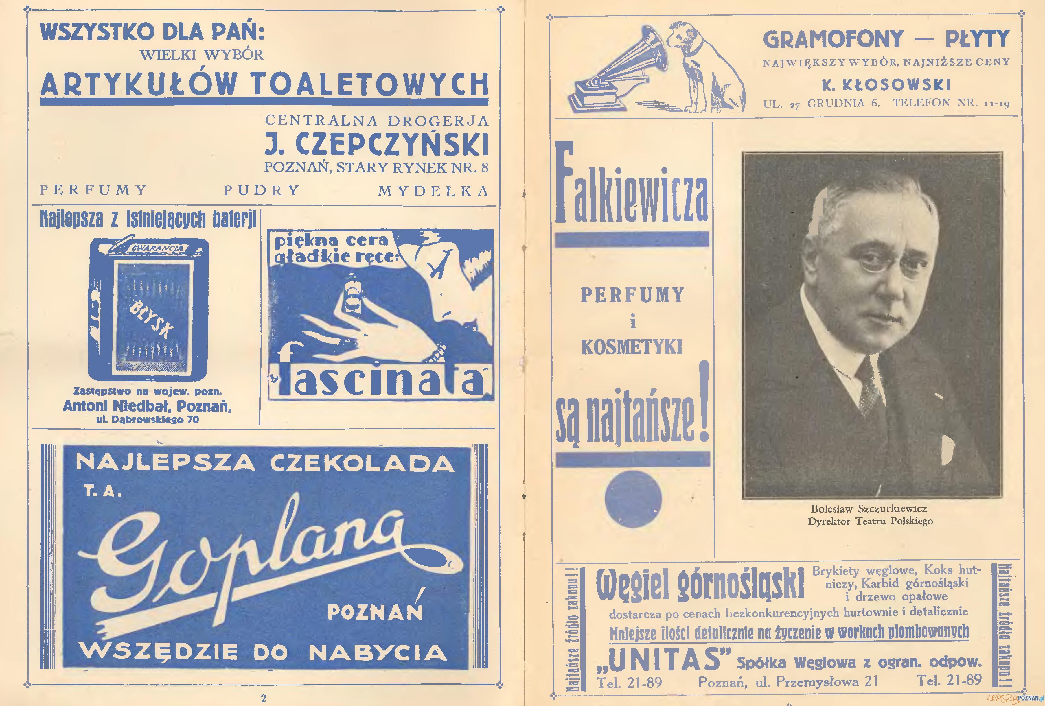 Fragment programu Teatru Polskiego, dyrekcja Bolesław Szczurkiewicz, rok 1932 Foto: Wielkopolska Biblioteka Cyfrowa