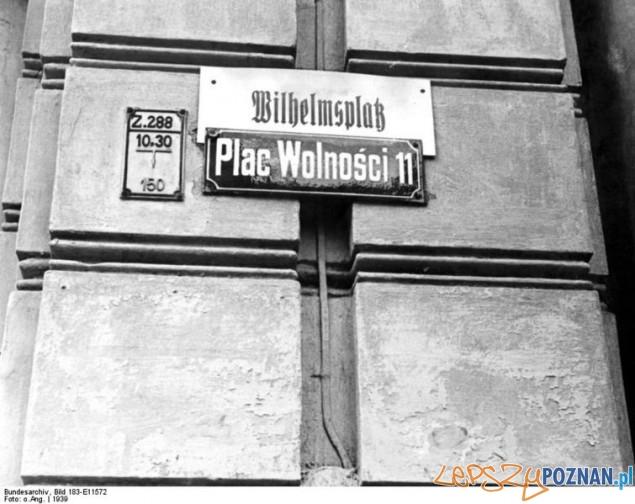 Niemieckie tablice w Poznaniu podczas okupacji