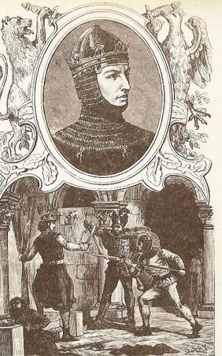 Rycina ks. Pillatiego zamieszczona w książce Kraszewskiego (1888) przedstawiająca króla Przemysława
