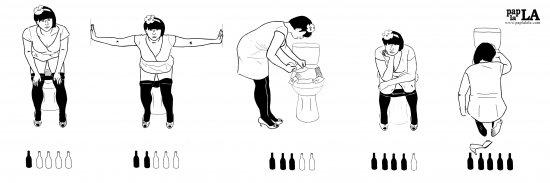 """""""zmienia się, gdy z sił opada kobieta, z wroga w przyjaciela publiczna toaleta"""" - Wystawa komiksów Agnieszki Szczepaniak.  Foto: Wystawa komiksów Agnieszki Szczepaniak"""