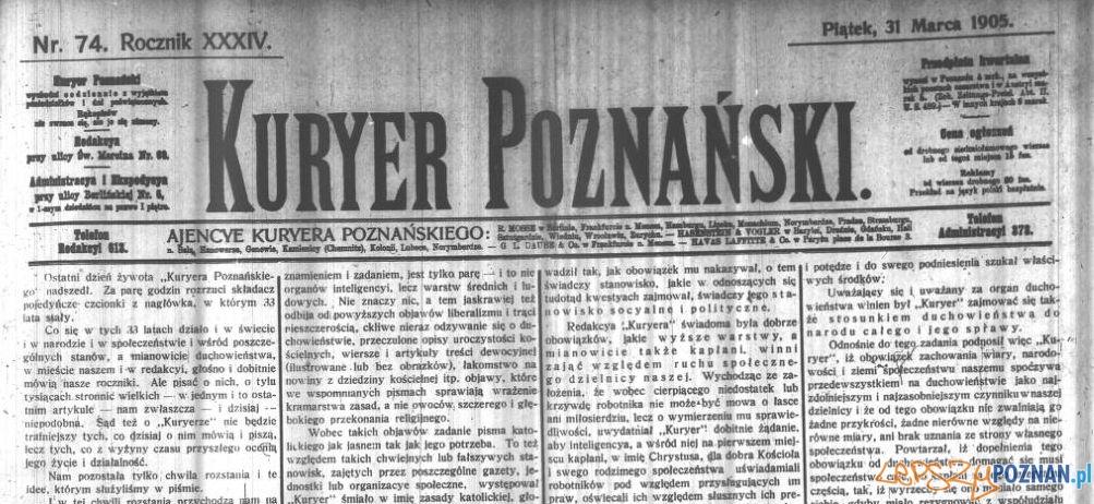 Kurier Poznański 31_03_1905 Foto: Wielkopolska Biblioteka Cyfrowa