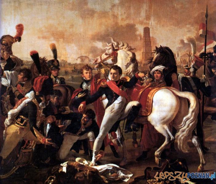 Napoleon ranny pod Ratyzboną, mal. C. Gautherol. Chłapowski, w mundurze szwoleżera, widoczny po prawej