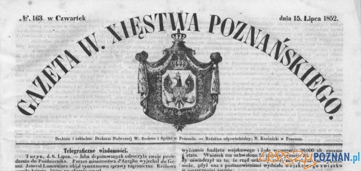 Gazeta Wielkiego Księstwa Poznańskiego 1852 Foto: Wielkopolska Biblioteka Cyfrowa