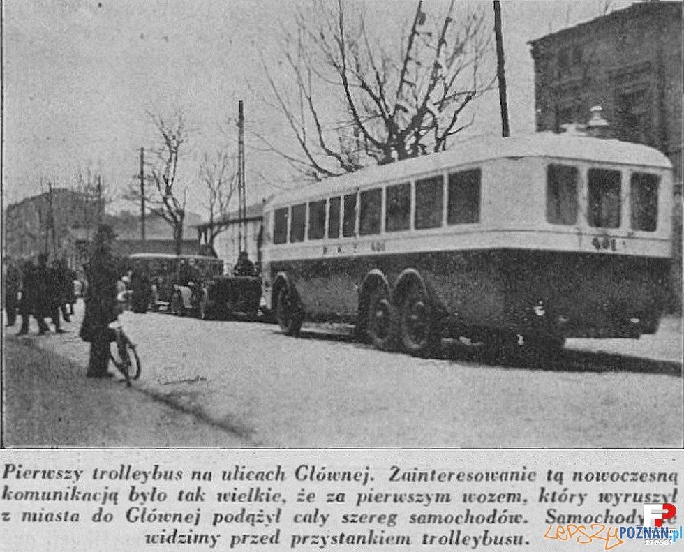 Trolejbus na Głównej, lata 30 XX wieku Foto: Samochód, nr 20 1930, fotopolska.eu