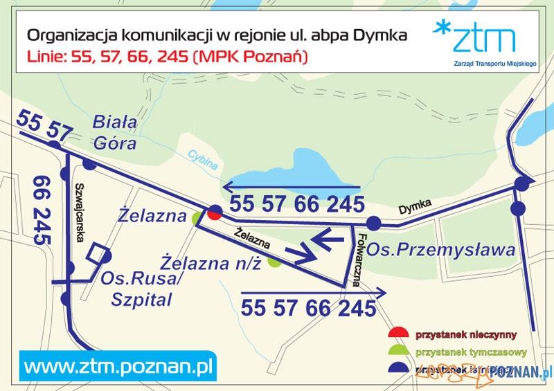 Zmiany w kursowaniu linni 55, 57, 66, 245 na ulicy Dymka  Foto: ZTM