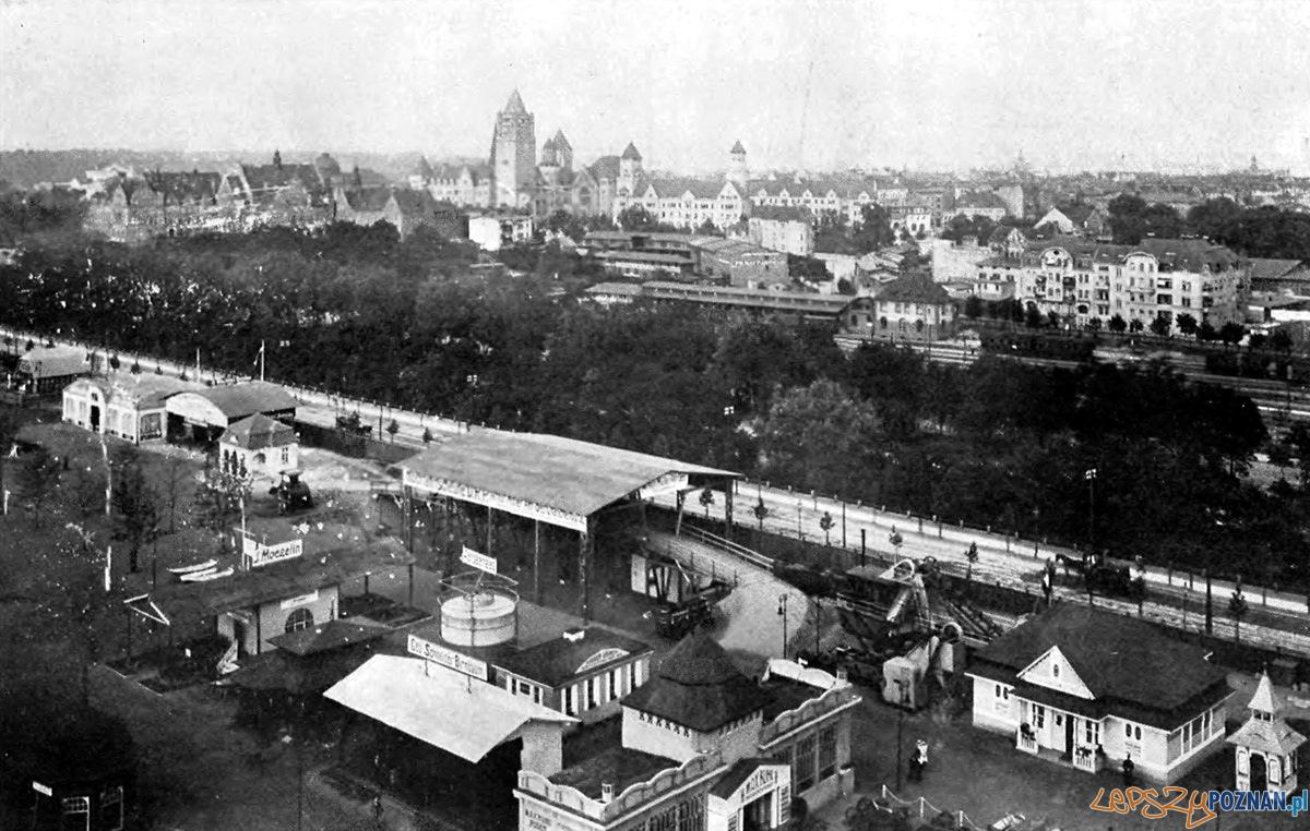 Panorama Poznania w czasie trwania targów w 1910r. U dołu zdjęcia fragment ekspozycji górnośląskiej. Fot. Udo Mertens