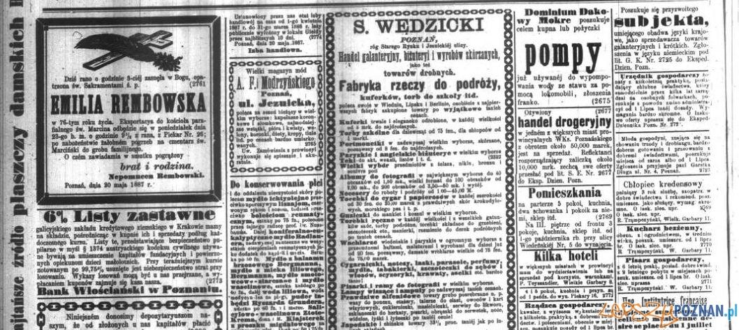 Reklamy w Dzienniku Poznańskim z 21 maja 1887 roku Foto: Wielkopolska Biblioteka Cyfrowa