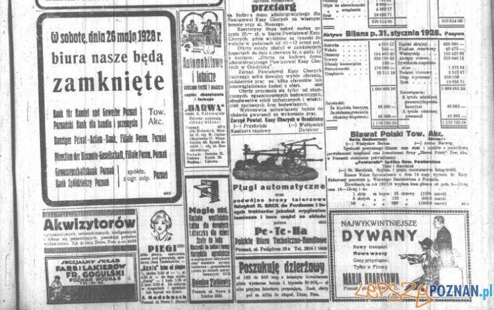 Reklamy w Dzienniku Poznańskim z 23 maja 1928 roku
