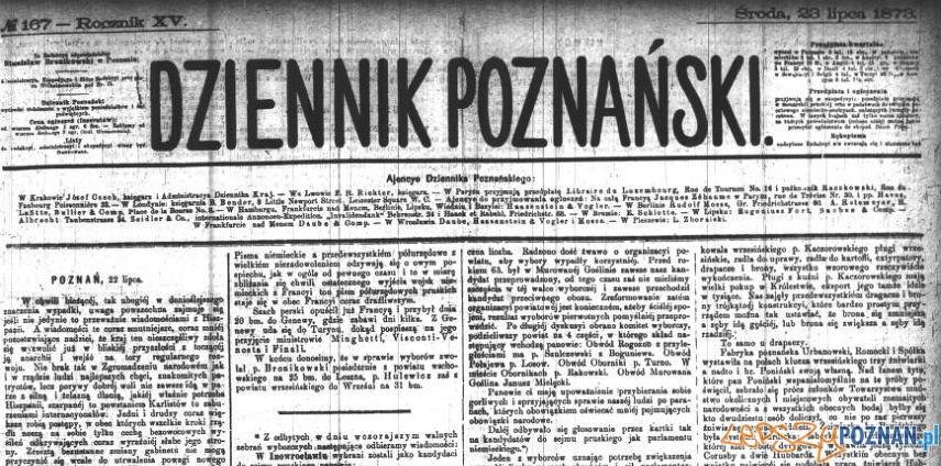 Dziennik Poznański, 23 lipca 1893 Foto: Wielkopolska Biblioteka Cyfrowa