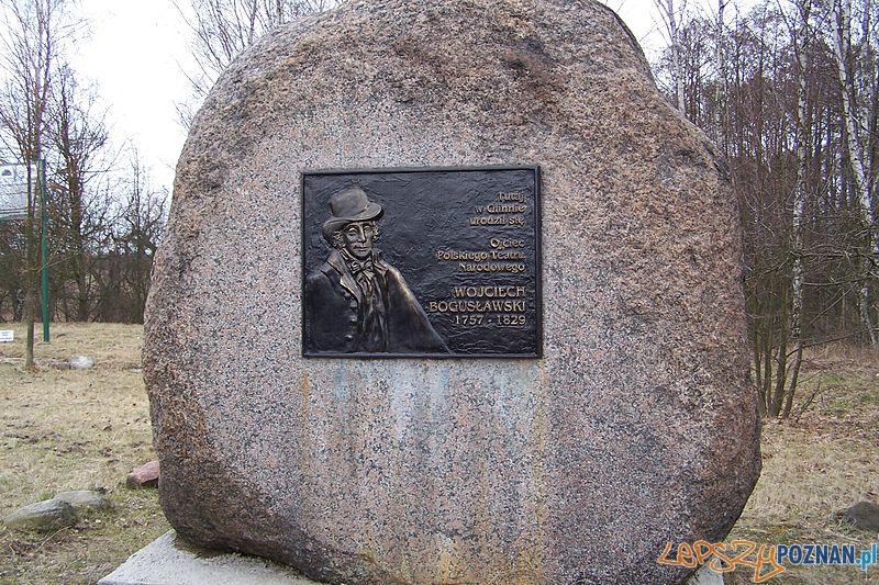Głaz pamiatkowy w miejscu urodzenia Wojciecha Bogusławskiego w Glinnie Foto: wikipedia.pl
