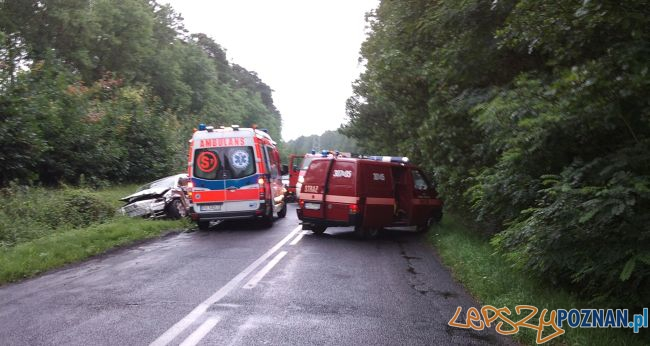 Wypadek na trasie Wiórek - Mosina  Foto: KM PSP w Poznaniu