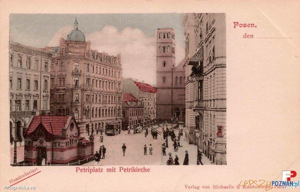 Pocztówka z Poznania, Plac Św. Piotra obecnie Wiosny Ludów, początek XX wieku, przed 1919 r
