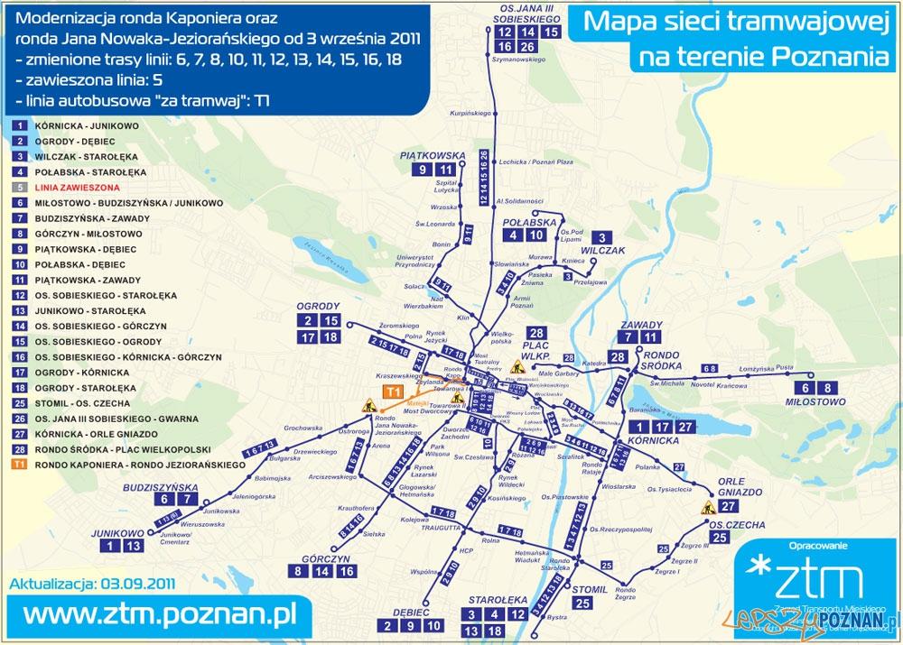 Mapa Zmian na Kaponierze  Foto: ZTM