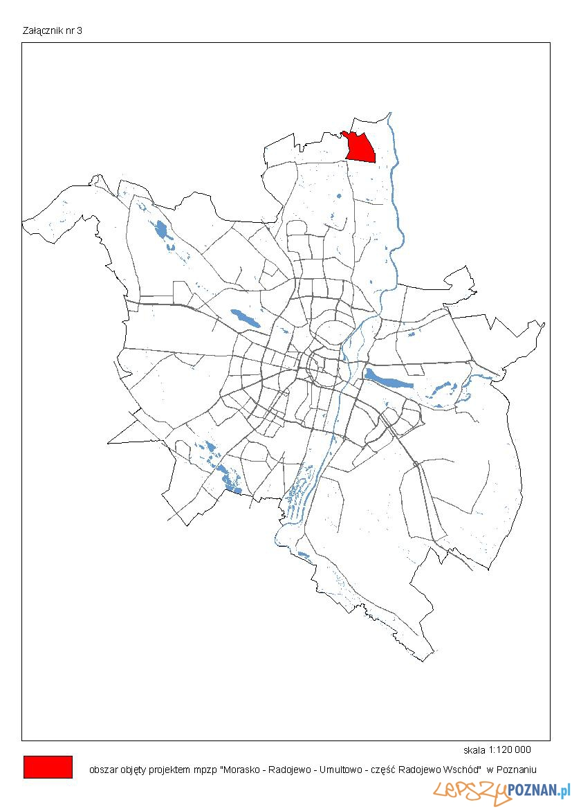 Morasko-Radojewo-Umultowo, część Radojewo Wschód_lokalizacja_planu  Foto: