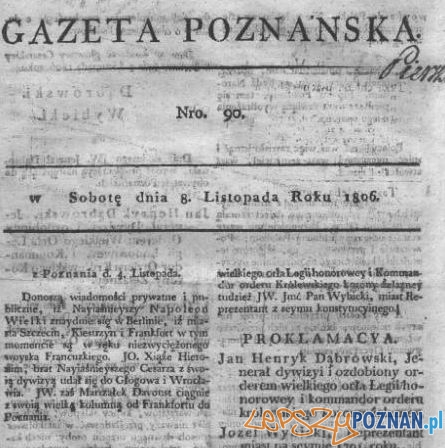 Gazeta Poznańska nr 1 - 8 listopada 1806 Foto: Wielkopolska Biblioteka Cyfrowa