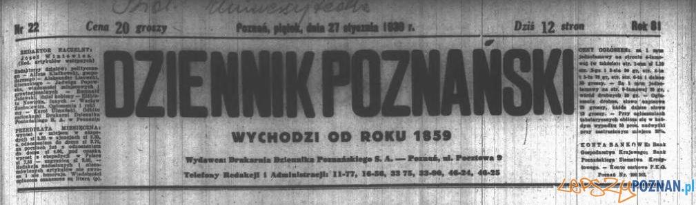 Dziennik Poznanski 1939 Foto: Wielkopolska Biblioteka Cyfrowa