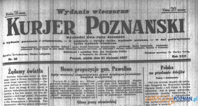Kurjer Poznański 21 stycznia 1927 Foto: Wielkopolska Biblioteka Cyfrowa