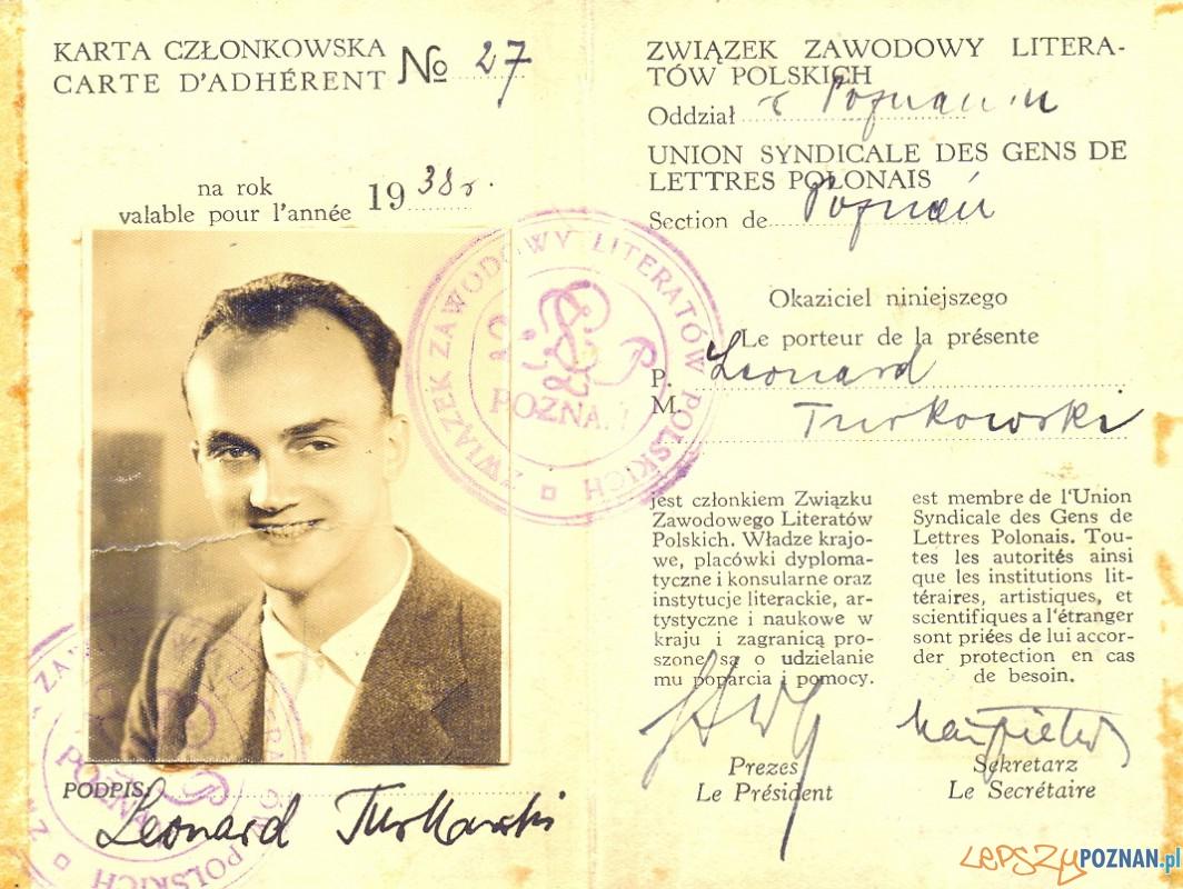 Leonard Turkowski Karta Członkowska ZLP