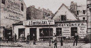 Destylarnia w miejscu dzisiejszego Hotelu Royal przy Św. Marcinie, koniec XIX wieku