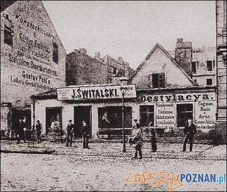 Destylarnia w miejscu dzisiejszego Hotelu Royal przy Św. Marcinie, koniec XIX wieku Foto: http://www.hotel-royal.com.pl