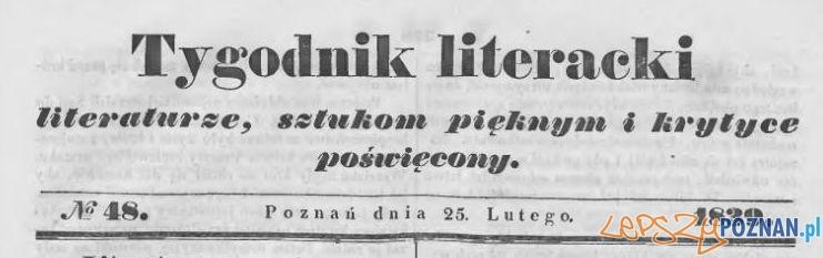 Tygodnik Literacki 25.02.1839 Foto: Wielkopolska Biblioteka Cyfrowa