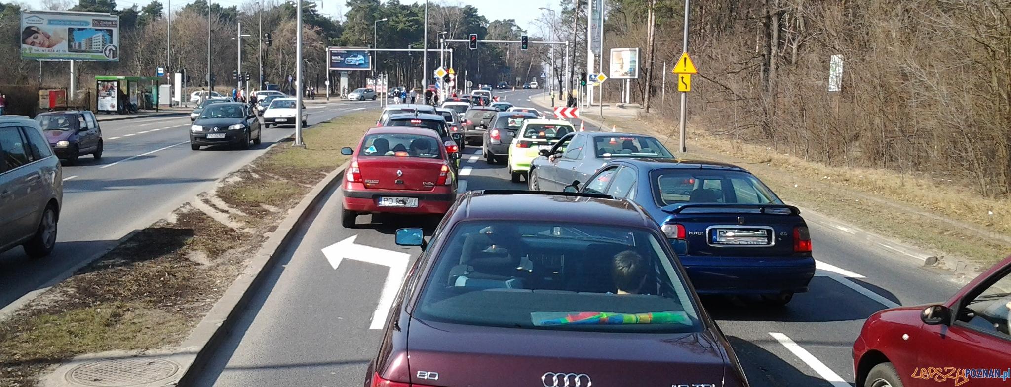 Bałagan przed skrętem w Chartowo - samochody upychane na jeden pas  Foto: lepszyPOZNAN.pl / ag