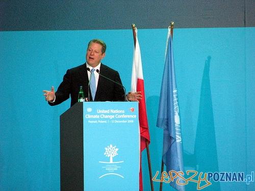 Al Gore podczas konferencji klimatycznej w Poznaniu