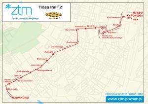 Trasa linii T2 od 5.03.2012 r. Foto: ZTM