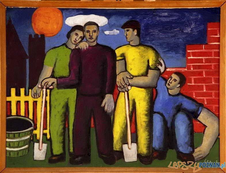 Alfred Lenica, Na budowie, [1948], olej tektura Foto: http://www.muzeumniepodleglosci.art.pl/