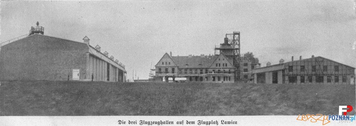 Budowa budynków na lotnisku Ławica rok 1914