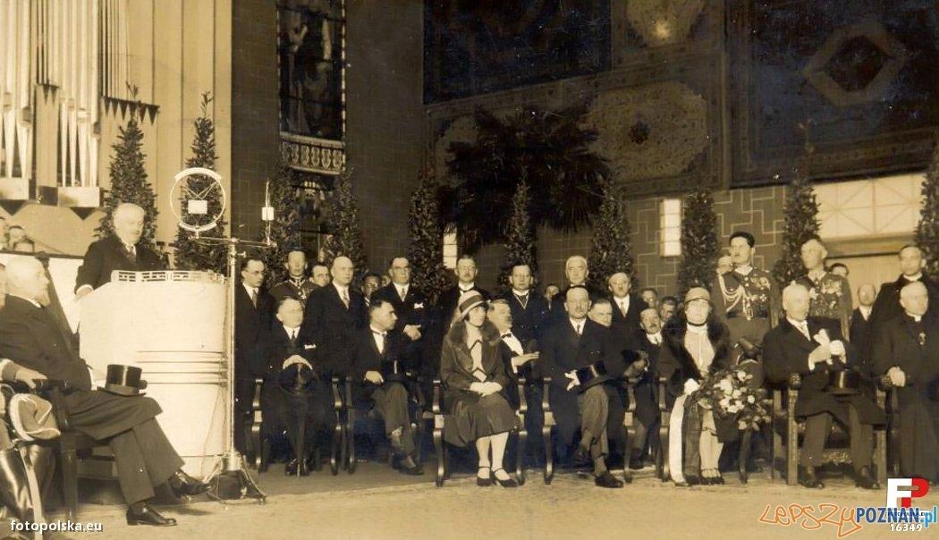 Uroczyste otwarcie P.W.K. w 1929 roku. Przy mikrofonie prezydent miasta P. Cyryl Ratajski, wśród gości - prezydent II R.P. Ignacy Mościcki oraz przedstawiciele rządu (m.in. premier W. Sławek) Foto: fotopolska