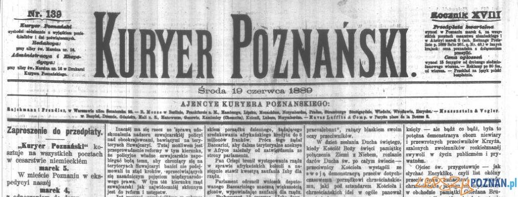 Kurier Poznański ze środy 19 czerwca 1889 roku