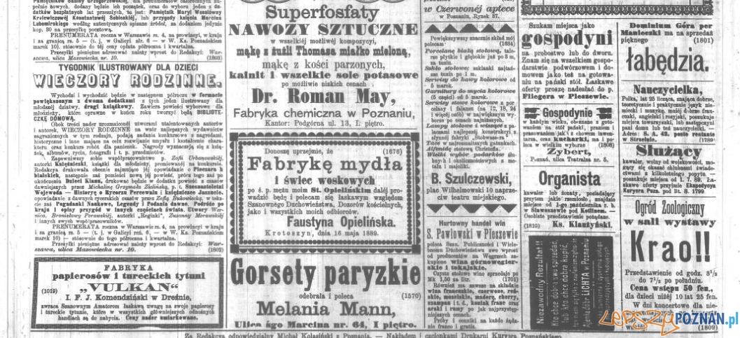 Reklamy w Kurierze Poznańskim z 19 czerwca 1889 roku