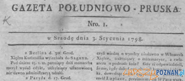 Gazeta Południowo - Pruska Foto: Wielkopolska Biblioteka Cyfrowa