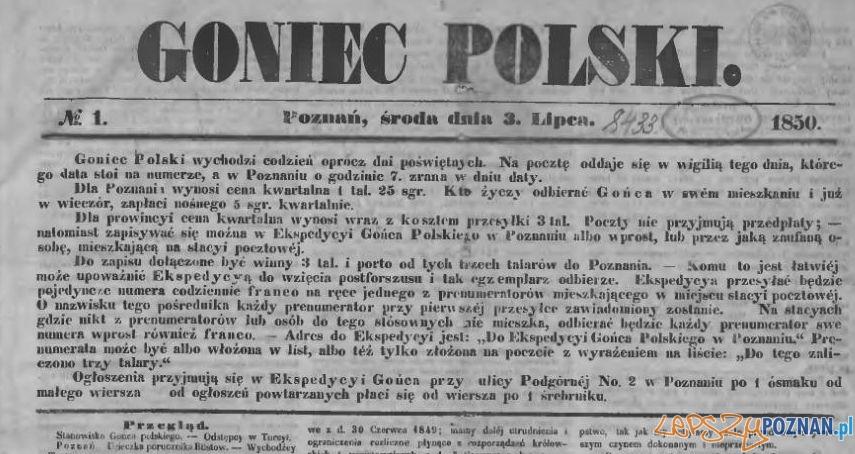 Goniec Polski nr 1, 3 lipca 1850 Foto: Wielkopolska Biblioteka Cyfrowa