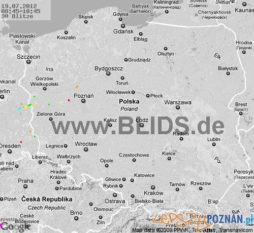 mapa burzowa - 19.07.2012 - godzina 10:45 Foto: blids.de