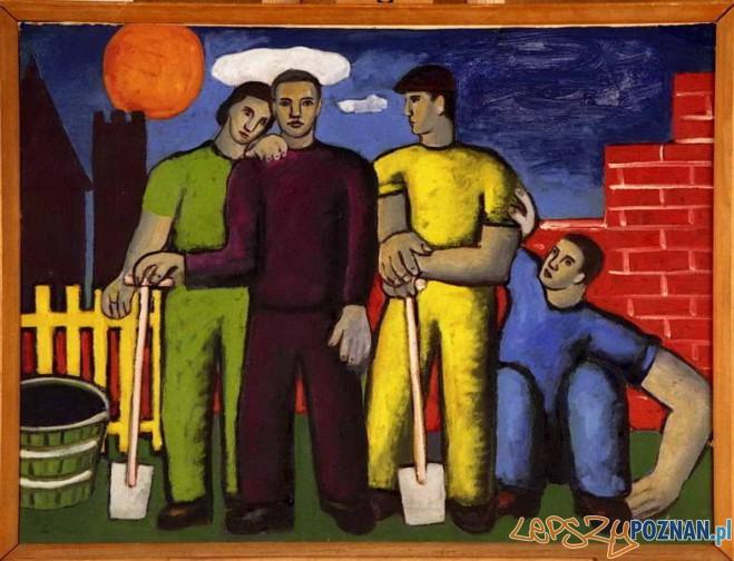 Alfred Lenica, Na budowie, 1948, olej tektura Foto: www.muzeumniepodleglosci.art.pl