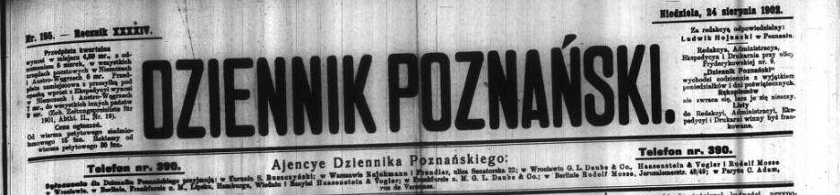 Dziennik Poznański, 24 sierpnia 2902 Foto: Wielkopolska Biblioteka Cyfrowa
