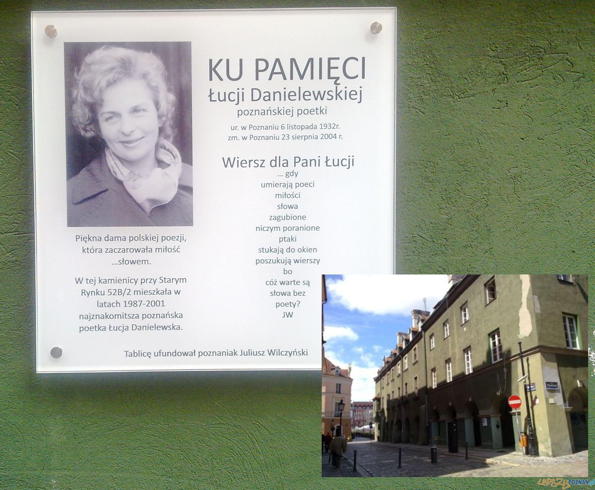 Ku pamięci Łucji Danielewskiej, tablica przy ul. Wodnej Foto: td