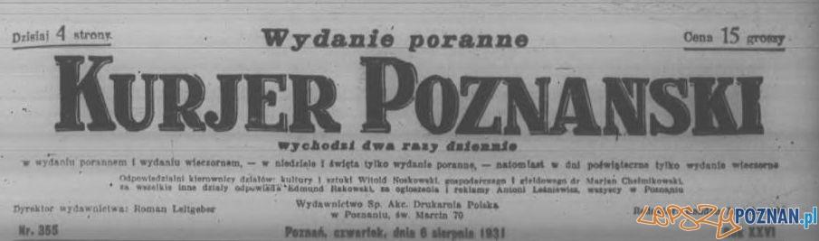 Kurjer Poznański, wydanie poranne 6 sierpnia 1931