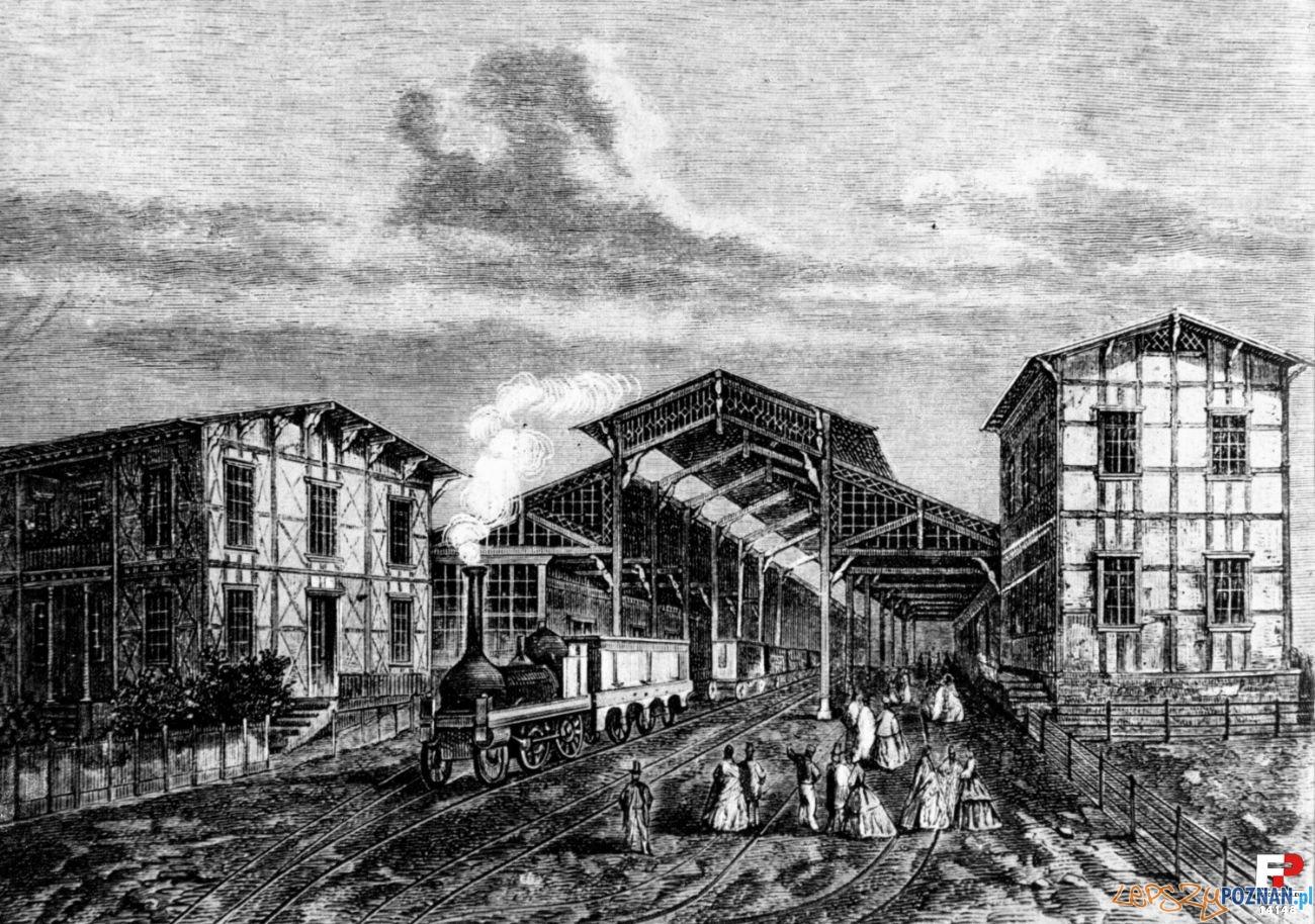 Pierwszy dworzec kolejowu na Jeżycach 1863 Foto: fotopolska.eu