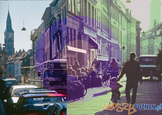 Zdjęcie z bloga Jan Ghel Architects przedstawia zmiany jakie zaszły na ulicy Kompagnistræd w Kopenhadze  Foto: za: www.studencka-architektura.p