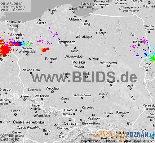 Sytuacja burzowa około godziny 16:00 Foto: blids.de