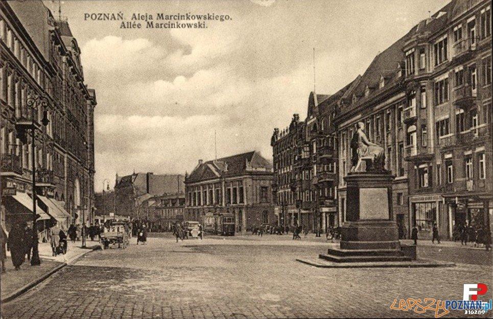 Aleje Marcinkowskiego, około roku 1925 Foto: fotopolska.eu