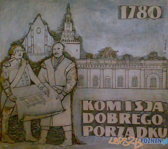 Komisja Dobrego Porządku. Płaskorzeźba w Zamku Cesarskim w Poznaniu – w tle poznański Odwach Foto: wikipedia